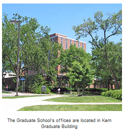 The Kern Graduate Building where the graduate school offices are located.